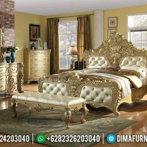 Model Terbaru Tempat Tidur Mewah Ukiran Glossy Gold TTJ-0061