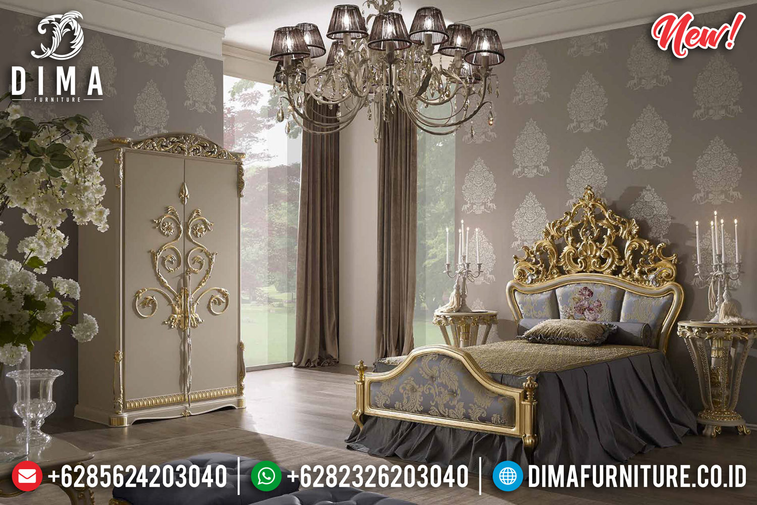 New Kamar Set Mewah Golden Luxury Jepara TTJ-0081