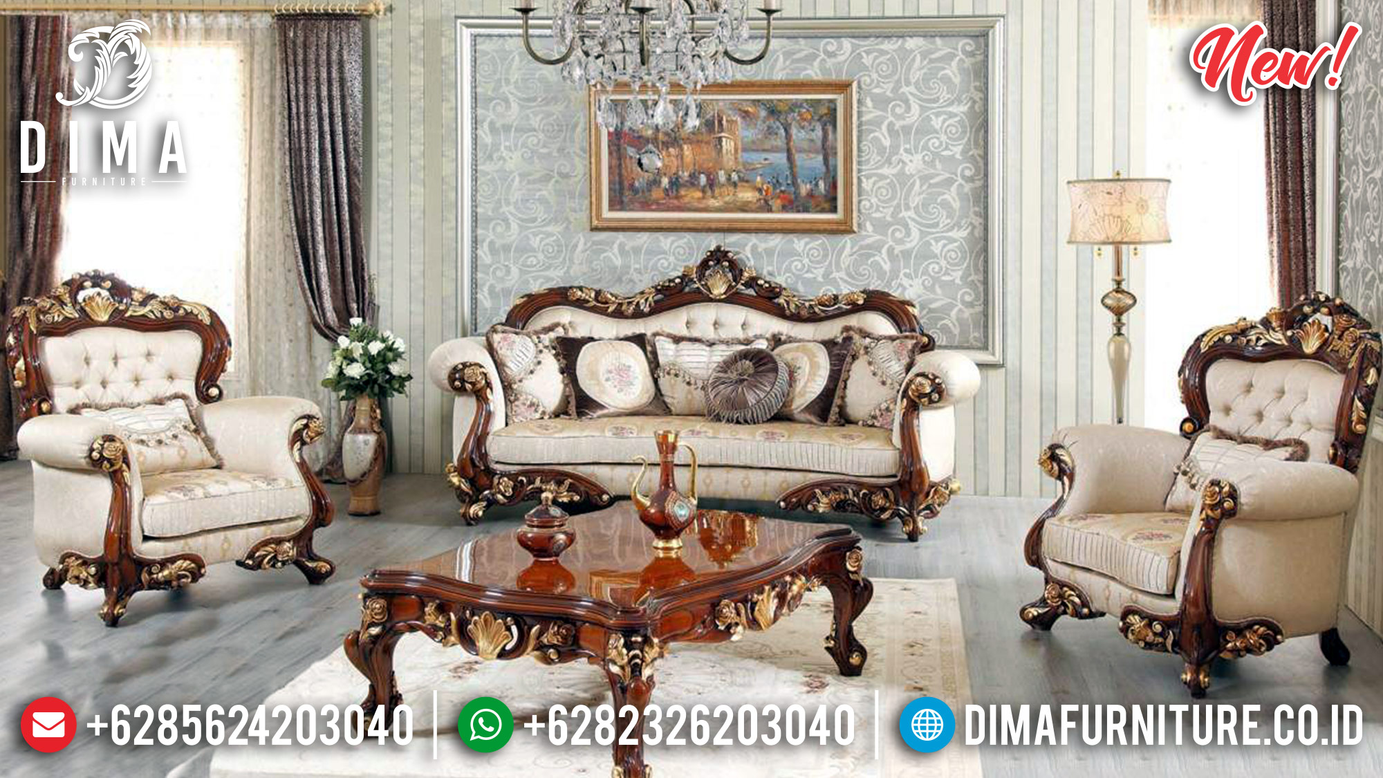 Set Kursi Tamu Jepara, Sofa Tamu Mewah, Mebel Jati Jepara TTJ-0017