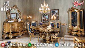Set Meja Makan Mewah Gold Glossy TTJ-0027