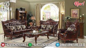 Desain Klasik Set Sofa Tamu Mewah Natural Jati TPK Jepara TTJ-0149