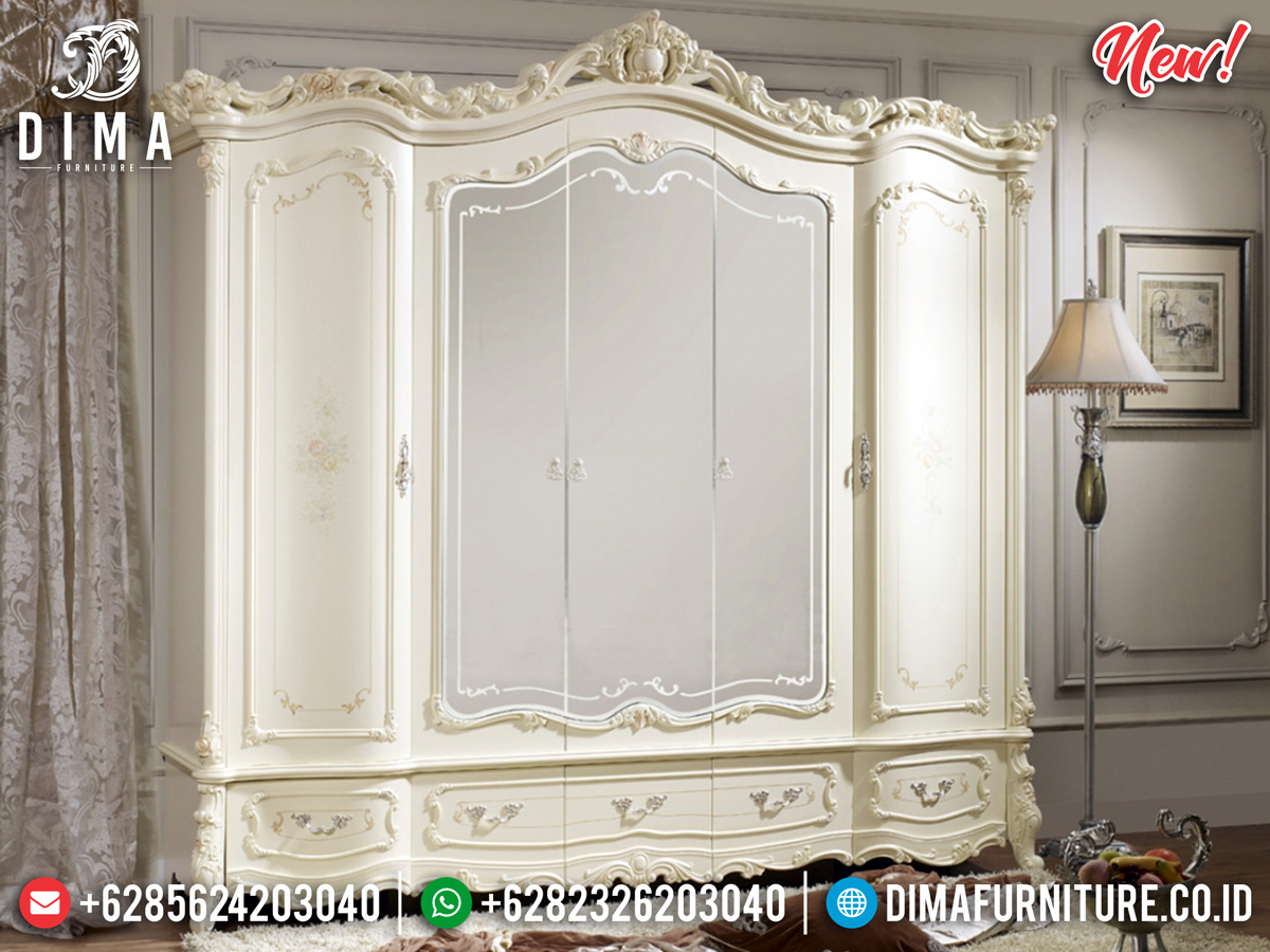 Jual Lemari Pakaian Mewah Cermin 5 Pintu Mebel Jepara Terbaru TTJ-0159