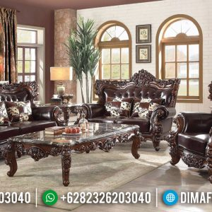 Luxury Classic Sofa Tamu Mewah Natural Jati Classy Versace TTJ-0151