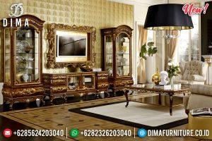 Mebel Jepara Meja TV Mewah, Lemari Hias, Pigura TV Klasik Natural Kombinasi Gold TTJ-0124