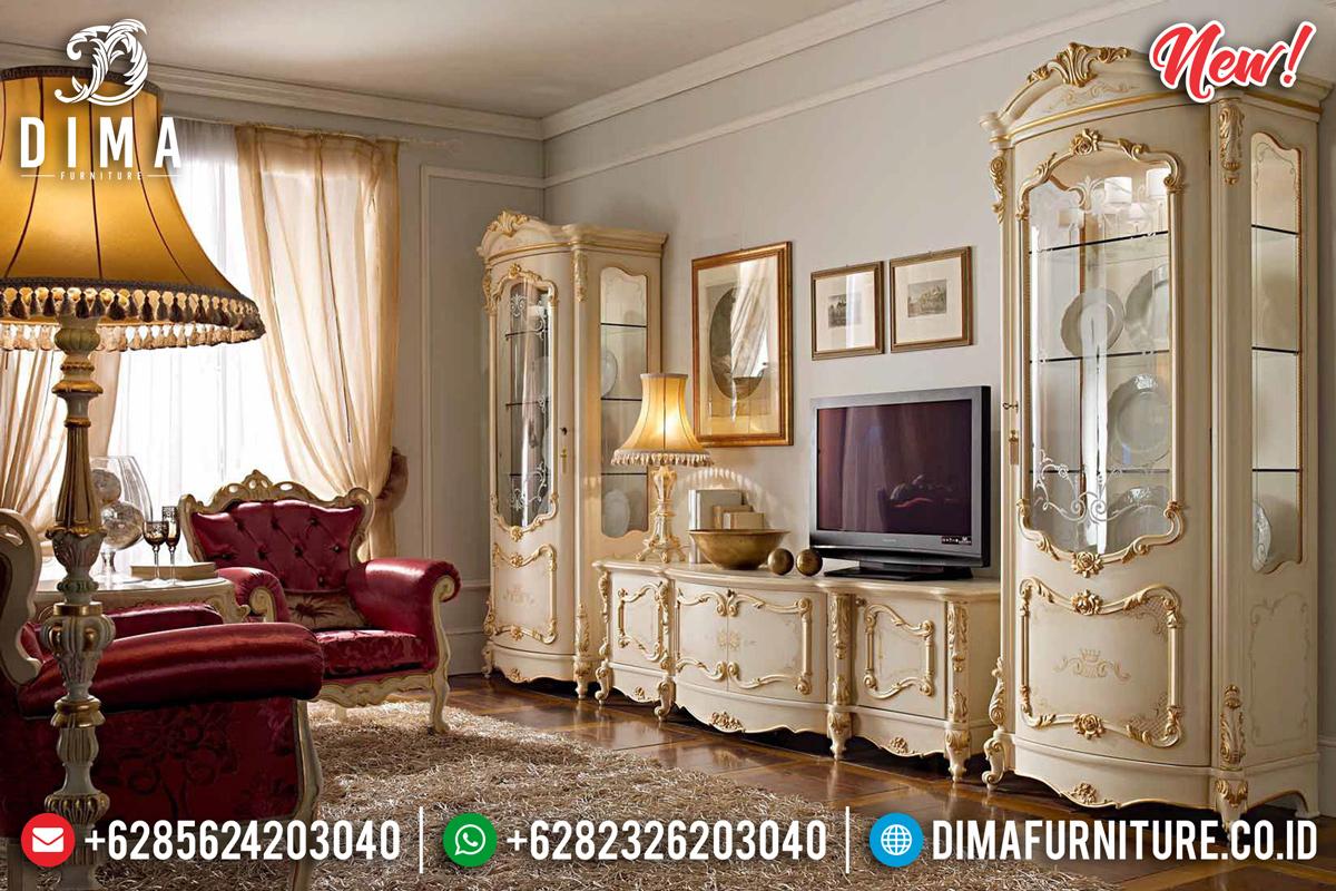 Model Terbaru Bufet TV Mewah Ukiran Jepara Putih Duco Kombinasi Emas Athena TTJ-0120