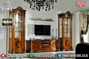 New Bufet TV Mewah Jati Marquetry Flowers TTJ-0104