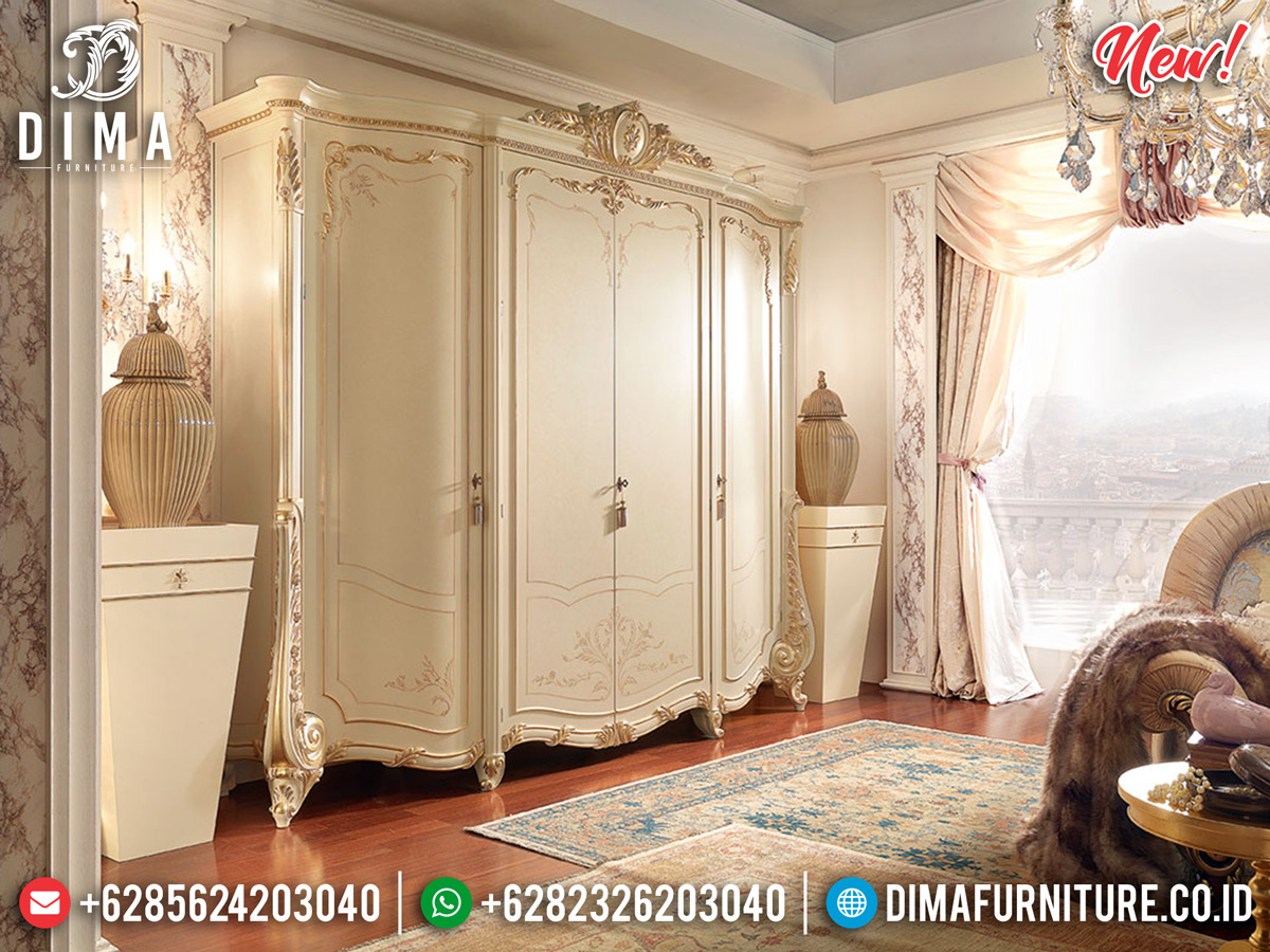 New Design Lemari Pakaian Mewah Duco Ivory Luxury Classic TTJ-0165