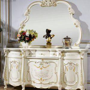 New Design Meja Konsol Mewah White Duco Gold Combination TTJ-0173