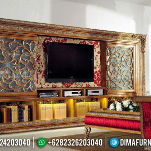 New Set Bufet TV Jati Luxury Ornamen Ukiran Jepara TTJ-0127