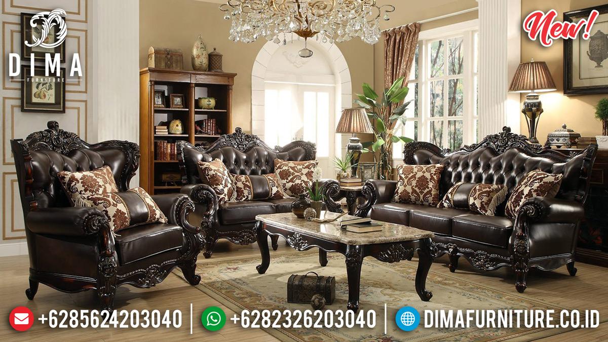 Set 3 2 1 + Meja Tamu Sofa Tamu Mewah Klasik Oscar Leather TTJ-0150