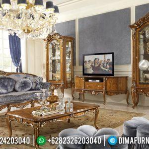 Set Bufet TV Lemari Hias Mewah Jati Natural Klasik TTJ-0123