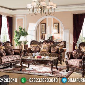 Desain 2020 Sofa Tamu Mewah Jati Natural Klasik Jepara TTJ-0180