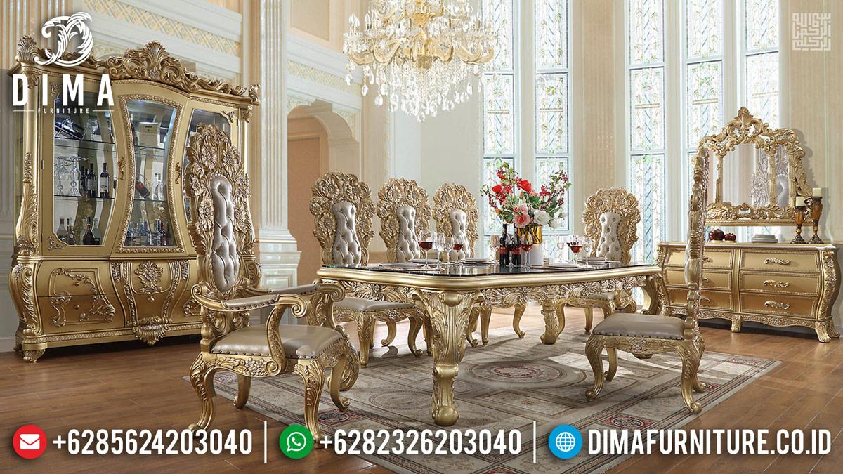 Desain Interior Meja Makan Jepara Mewah Golden Glossy Duco TTJ-0225