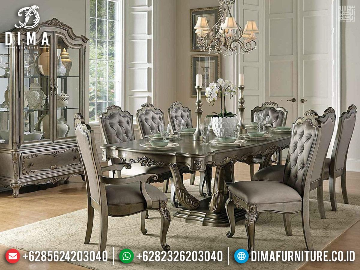 Harga Meja Makan Mewah Silver Champagne Mebel Jepara Terlaris TTJ-0239