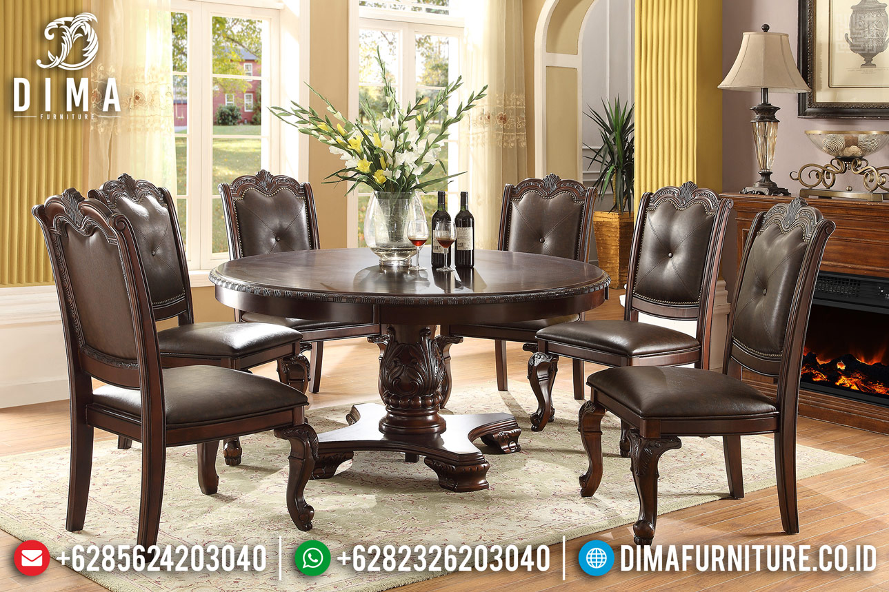 Harga Set Meja Makan Jati Jepara Oscar Leather Luxury TTJ-0350