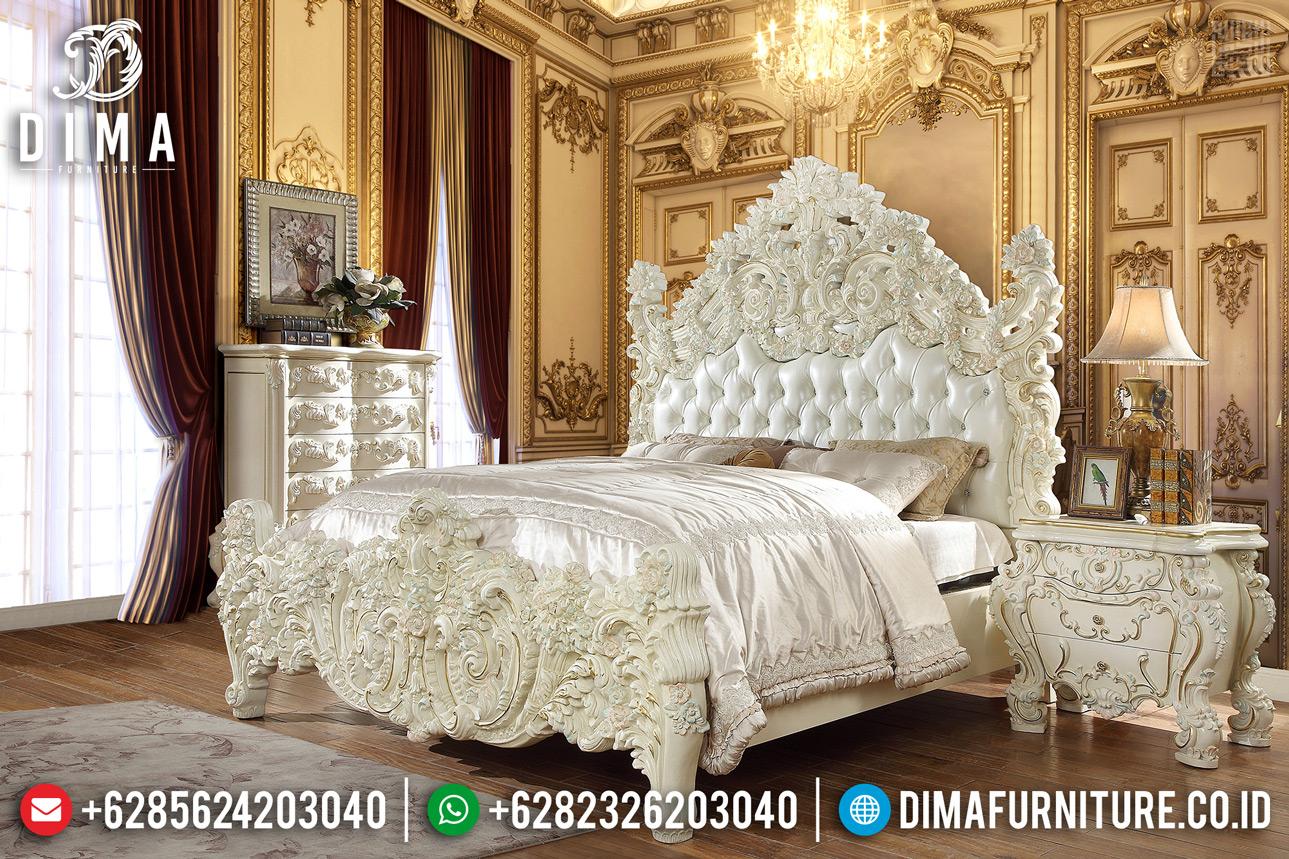 Jual Tempat Tidur Ukiran Jepara Desain Mewah Putih Duco TTJ-0316