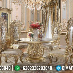 Meja Makan Jepara Desain Interior Mewah Gold Duco TTJ-0224
