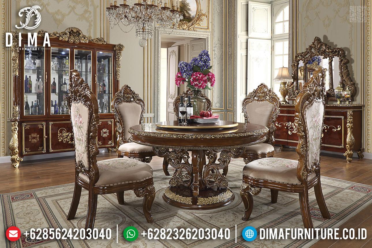 Meja Makan Mewah Gabrielle Natural Jati Classic Royals Jepara TTJ-0312