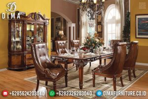 Meja Makan Mewah Oscar Leather Mediterania Natural Luxury TTJ-0294