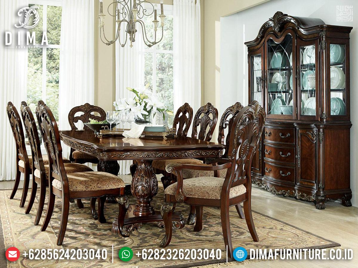 New Design Meja Makan Jepara Jati Natural Walnut TTJ-0235
