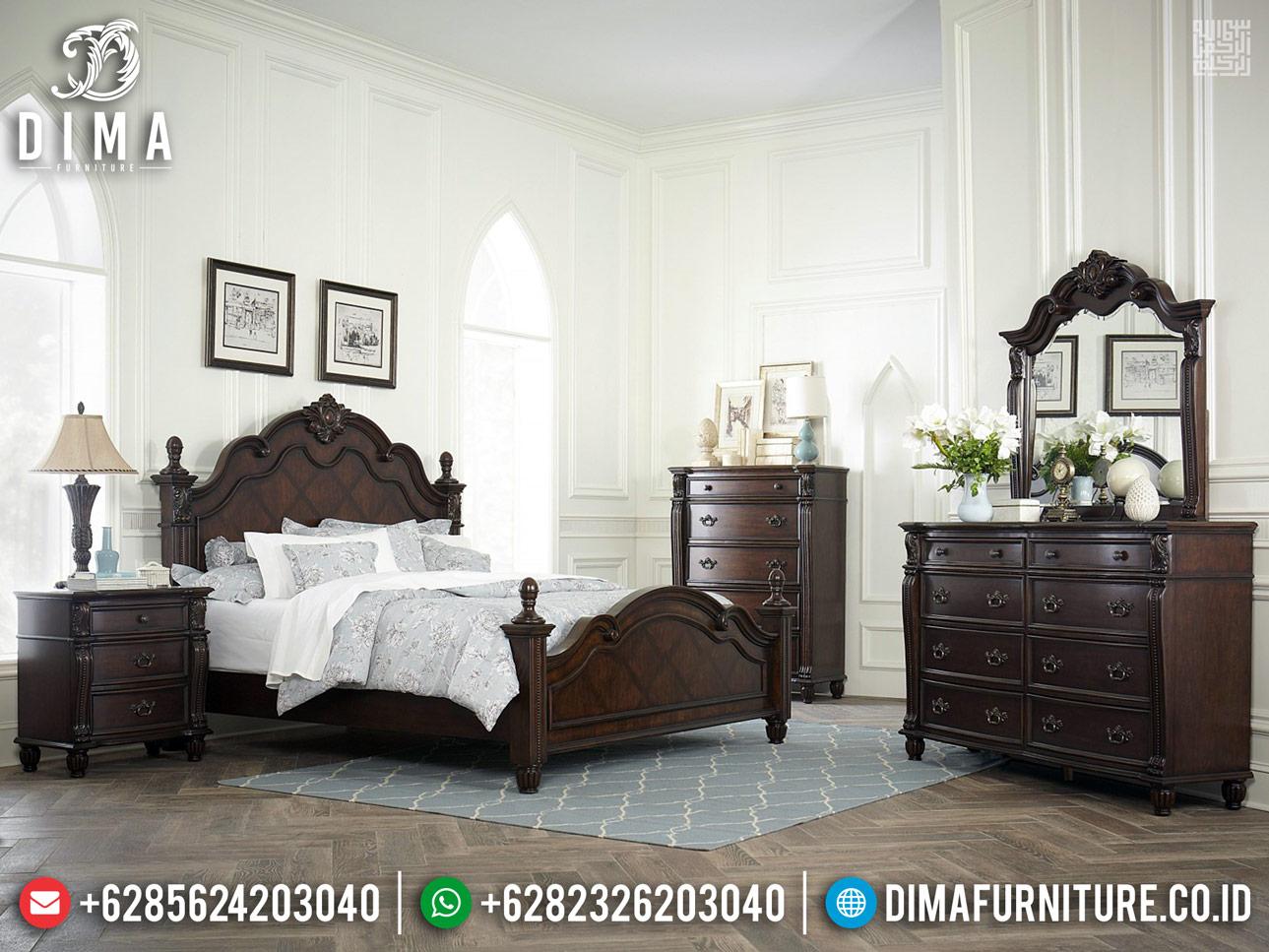 New Design Tempat Tidur Jati Jepara Dark Natural Classy TTJ-0260