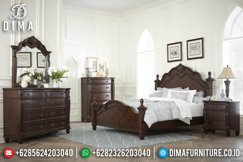 New Set Tempat Tidur Jati Jepara Desain Terbaru Natural Classic TTJ-0284