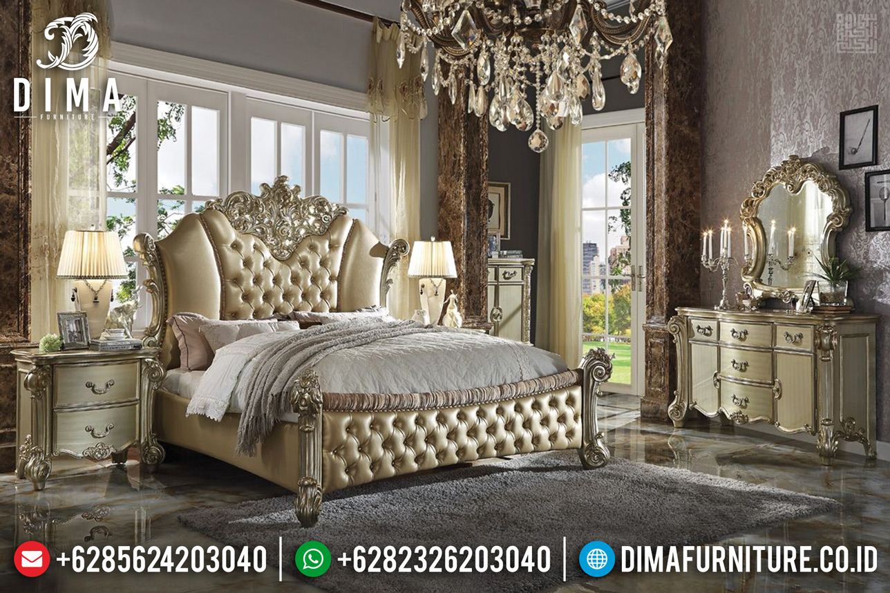 New Tempat Tidur Mewah Ukiran Klasik Jepara Golden Glossy Duco TTJ-0318