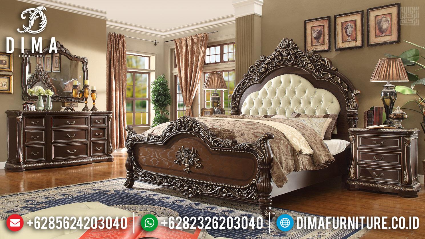 Tempat Tidur Mewah Jati Natural Classic Dark Brown Mebel Jepara TTJ-0325