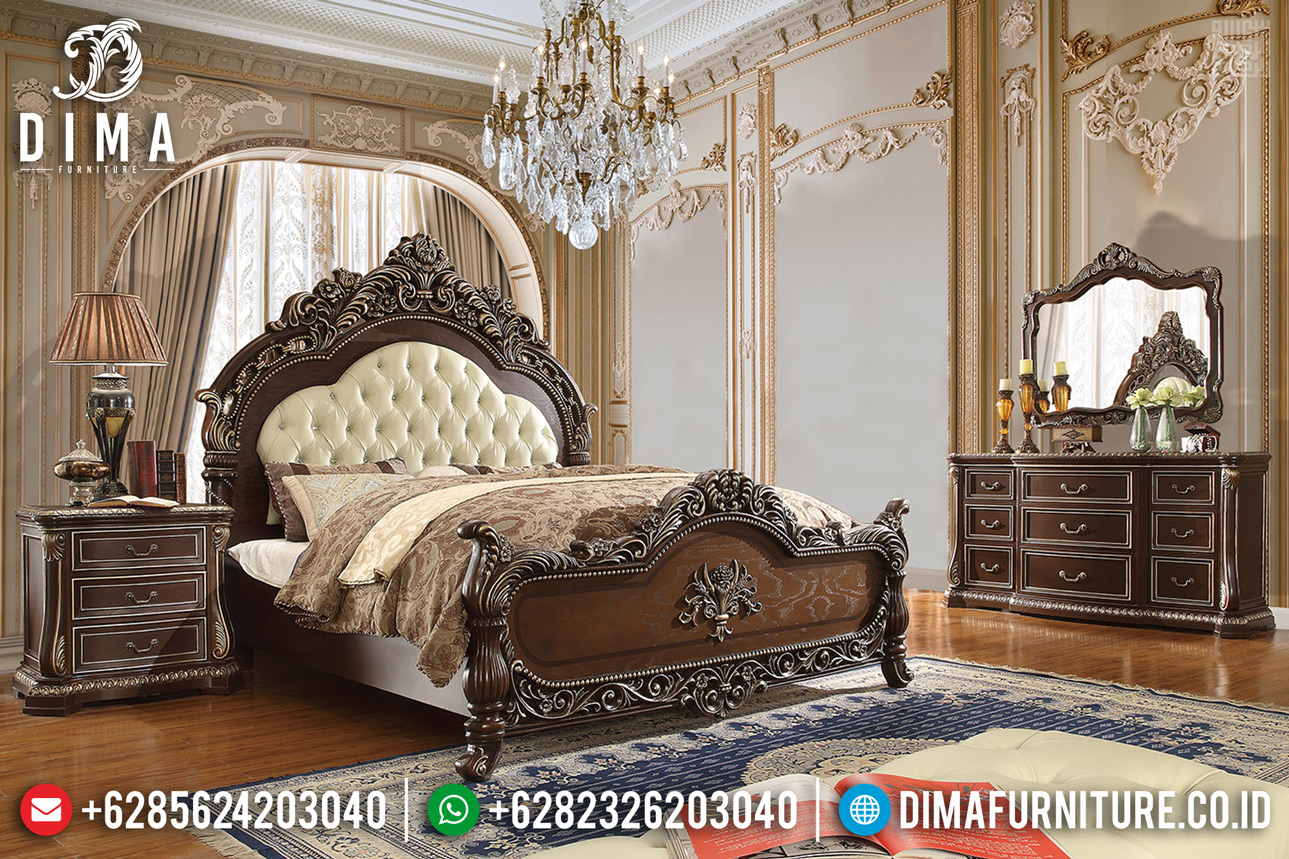 Tempat Tidur Mewah Jati Natural Ukiran Classic Barocco TTJ-0314