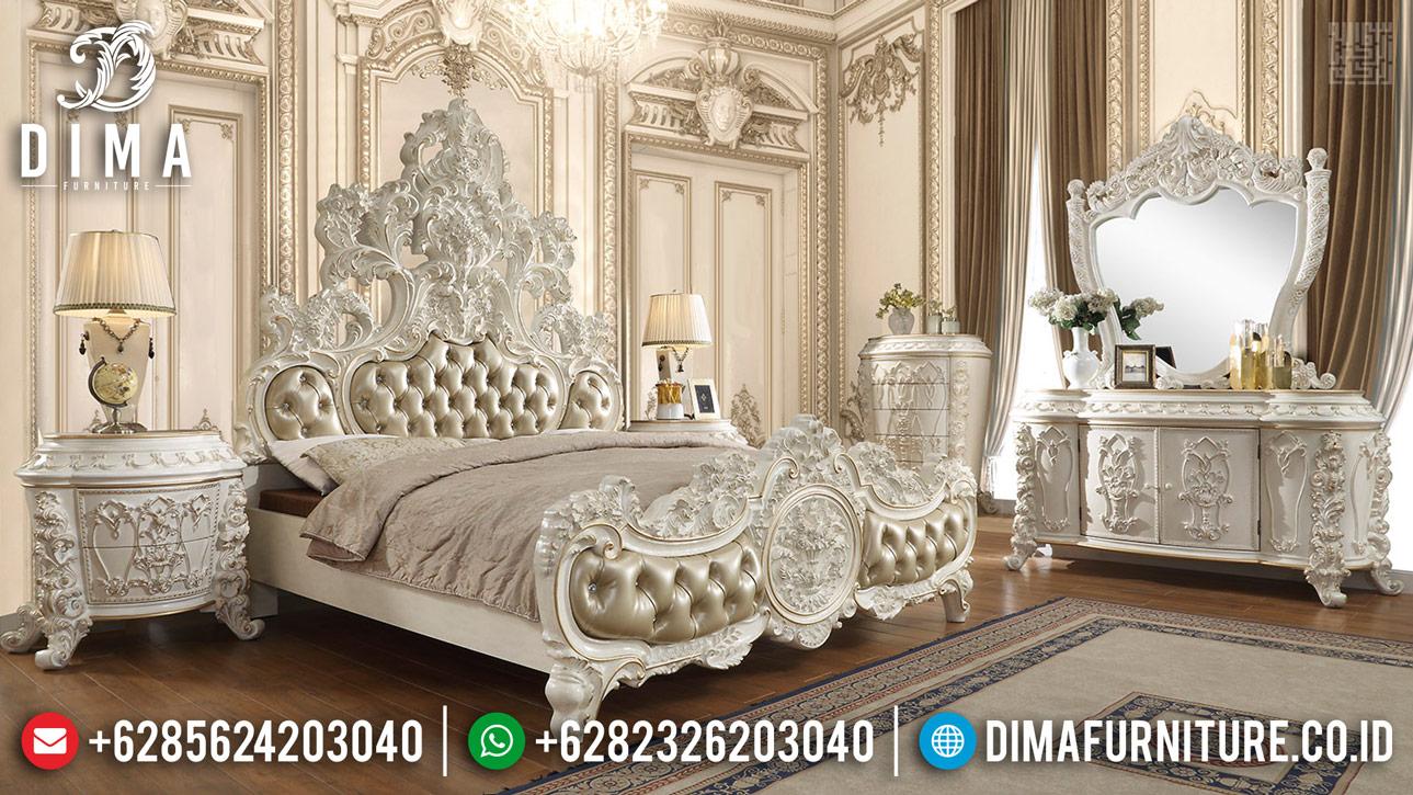 Termewah Tempat Tidur Mewah Full Ukiran Bunga Putih Duco Terbaru TTJ-0360