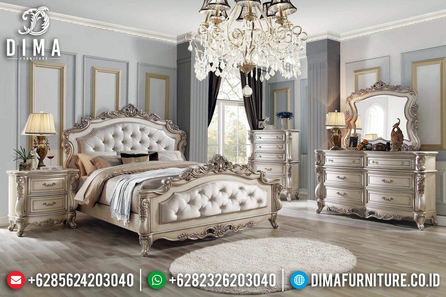 Art Design Tempat Tidur Mewah White Ivory Duco Champagne Shadow Furniture Jepara Luxury TTJ-0464