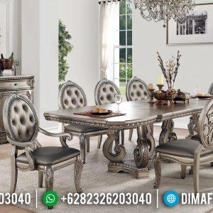 Desain Meja Makan Mewah Jepara Silver Duco Glossy Top Coat TTJ-0471