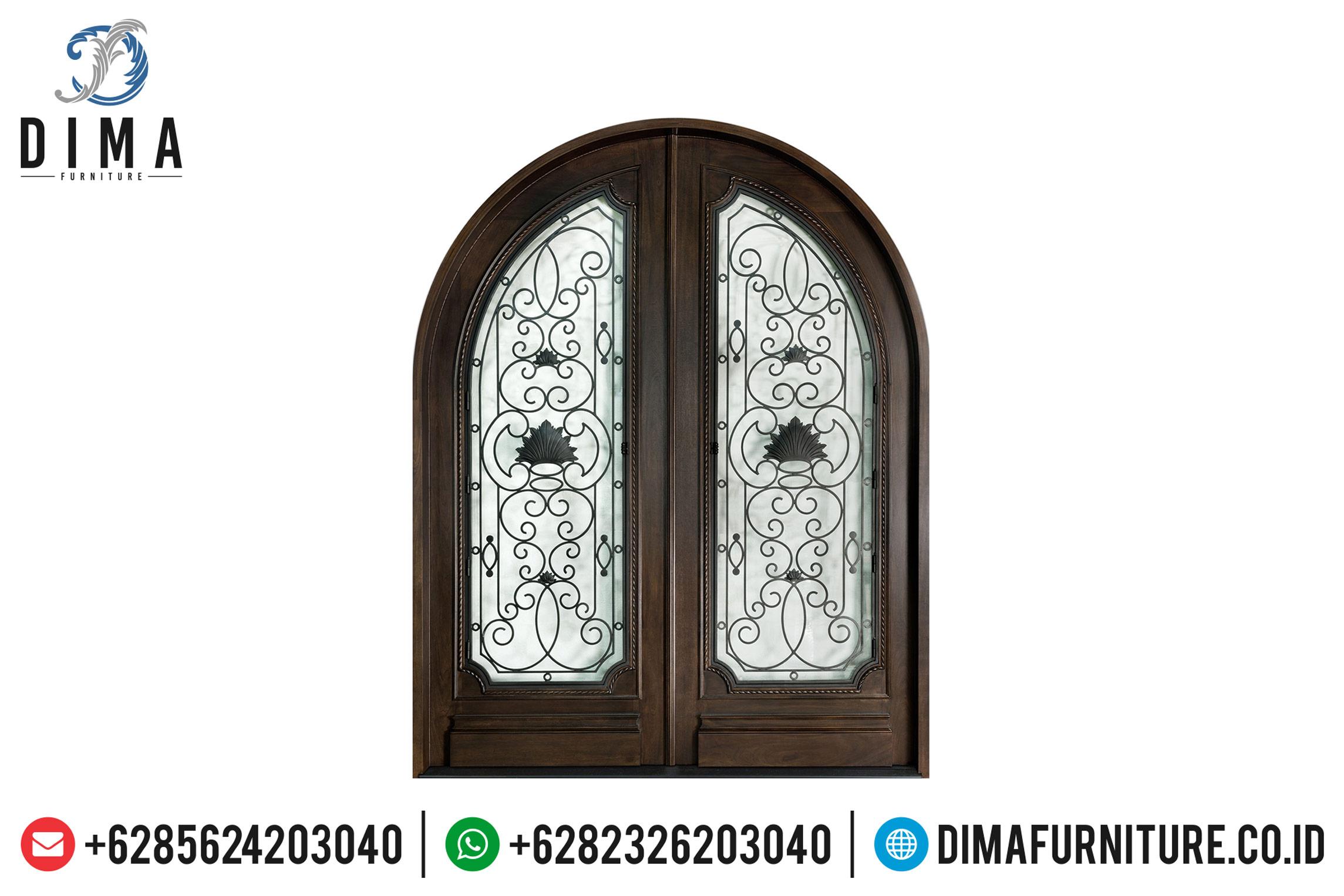 Desain Pintu Rumah Mewah Kusen Pintu Kayu Jati Natural Jepara TTJ-0500