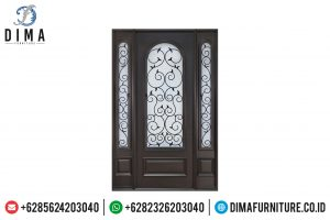 Desain Pintu Rumah Utama Jati Kombinasi Kaca Ukiran Ulir Jepara TTJ-0514