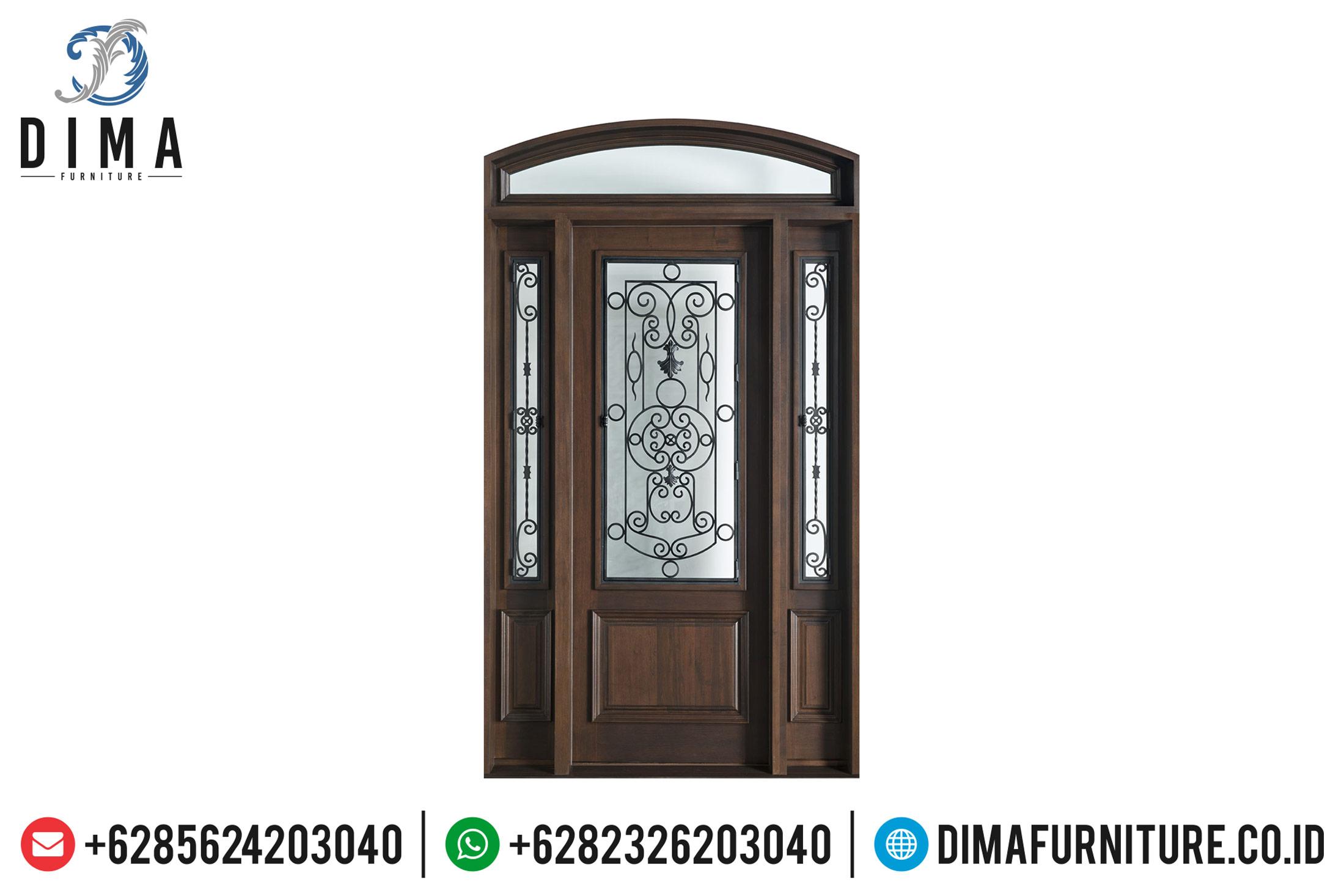 Desain Pintu Utama Kayu Jati Natural Minimalis Classic Jepara TTJ-0497