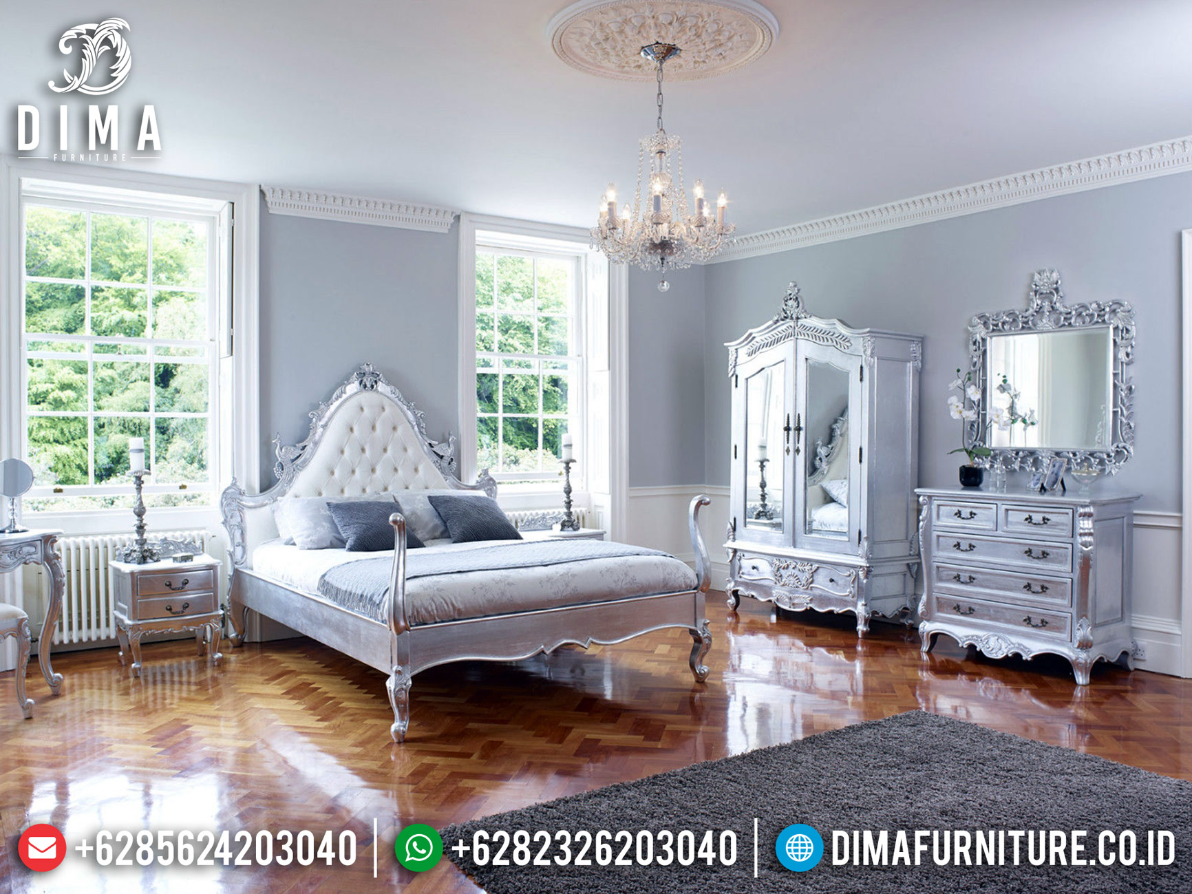 Desain Tempat Tidur Mewah Silver Leaf Type Terbaru Furniture Jepara TTJ-0473