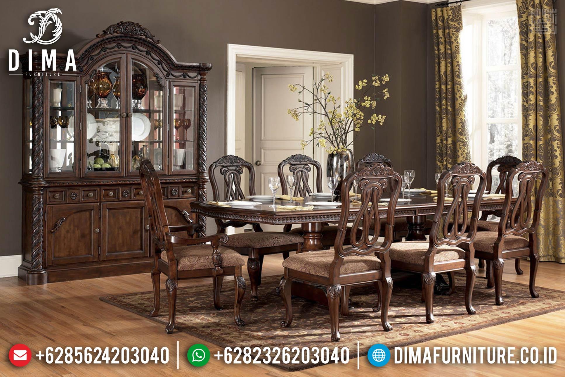 Furniture Jepara Classic Meja Makan Jati Ukiran Minimalis Natural TTJ-0400