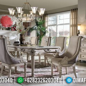 Furniture Jepara Meja Makan Mewah White Duco Classic Ivory Luxury TTJ-0472