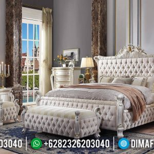 Furniture Jepara Online Tempat Tidur Mewah Jepara Carving Crown White Duco TTJ-0395