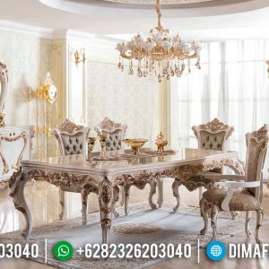 Furniture Jepara Terkini Meja Makan Mewah White Duco Golden Crown TTJ-0388