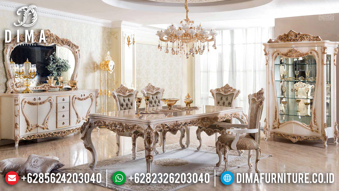 Furniture Jepara Terkini Meja Makan Mewah White Duco Golden Crown TTJ-0388