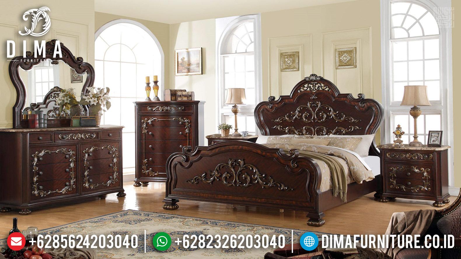 Harga Kamar Set Jati Natural Classic Ukiran Asli Furniture Jepara TTJ-0424