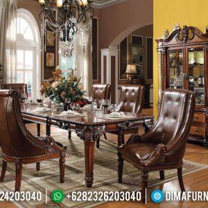 Harga Meja Makan Jati Natural Classic Furniture Jepara Asli TTJ-0397