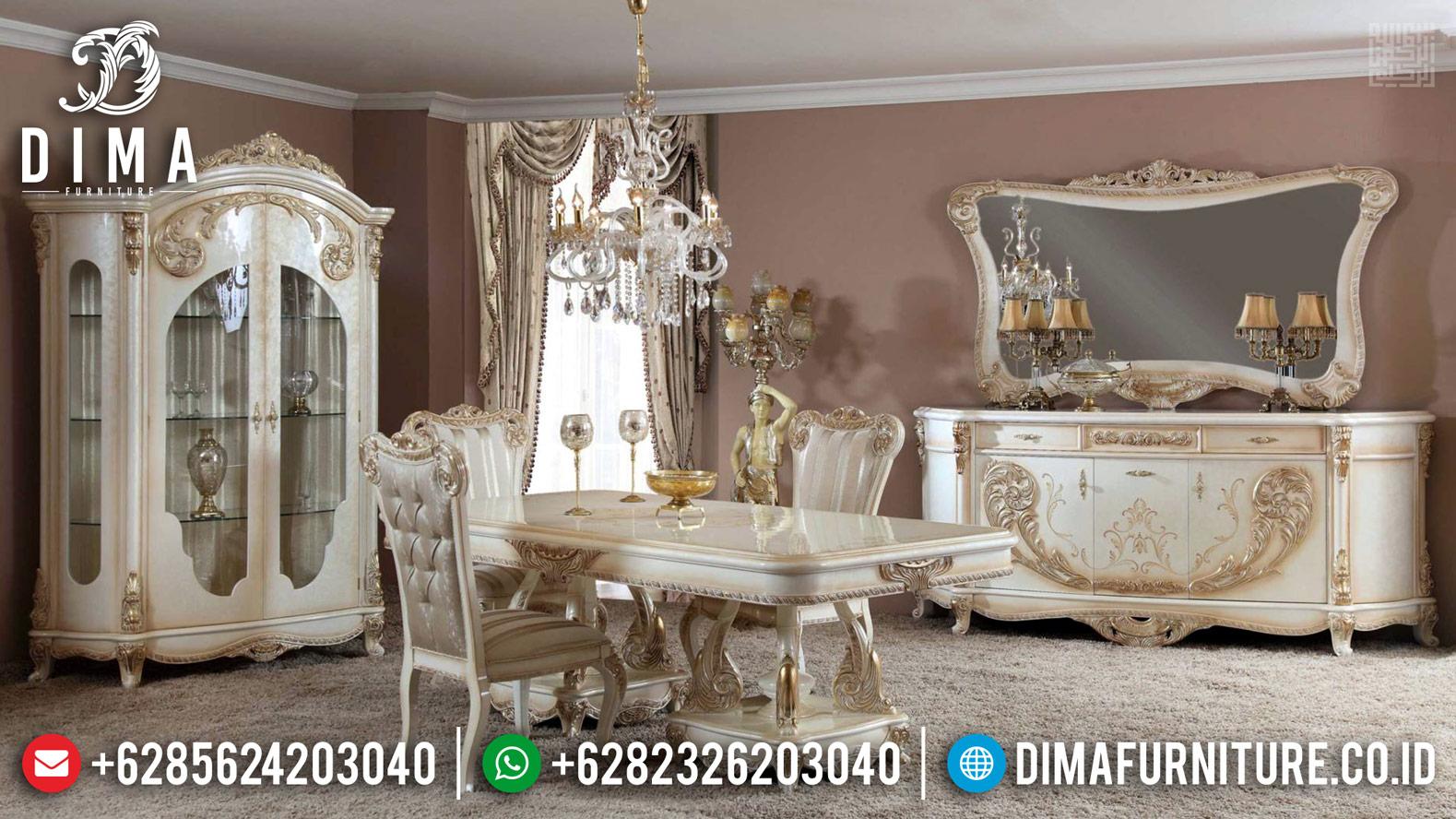 Harga Meja Makan Mewah White Duco Ivory Furniture Jepara Terbaru TTJ-0386