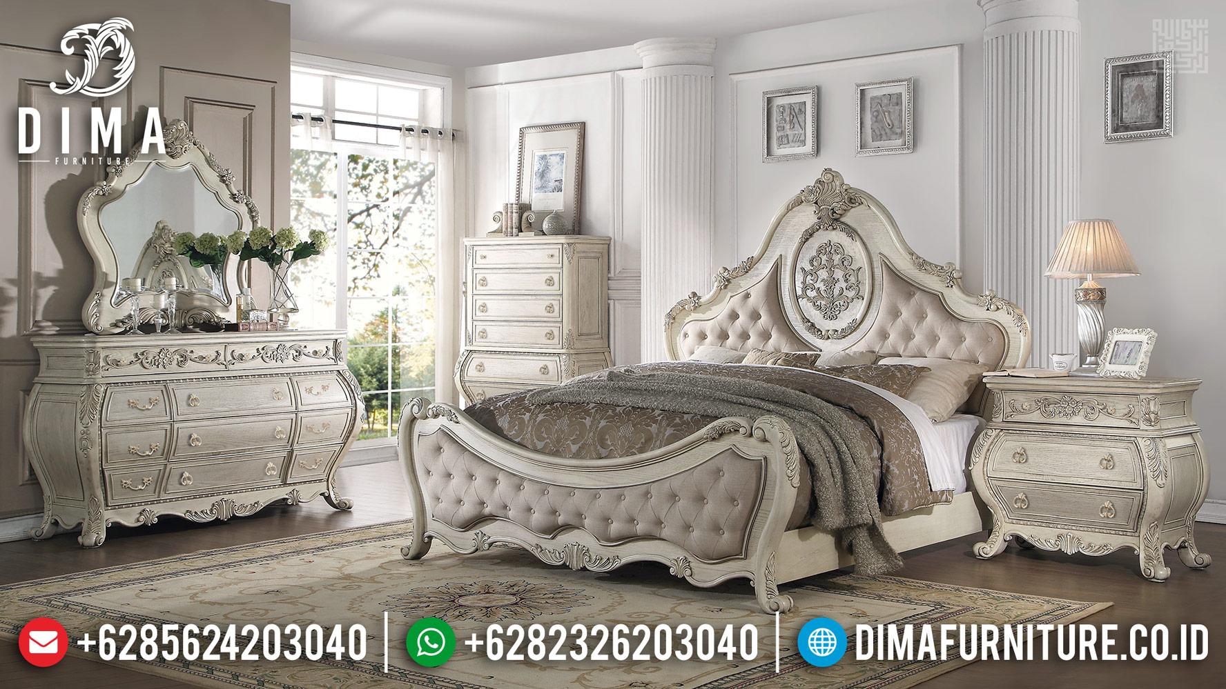 Harga Set Kamar Tidur Mewah, Tempat Tidur Mewah Ukiran Putih Duco Furniture Jepara TTJ-0420