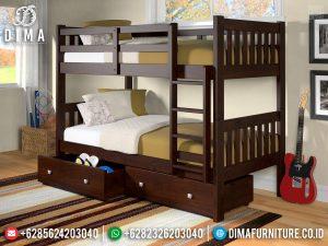 Harga Tempat Tidur Anak Dipan Tingkat Model Laci Furniture Jepara Terbaru TTJ-0410