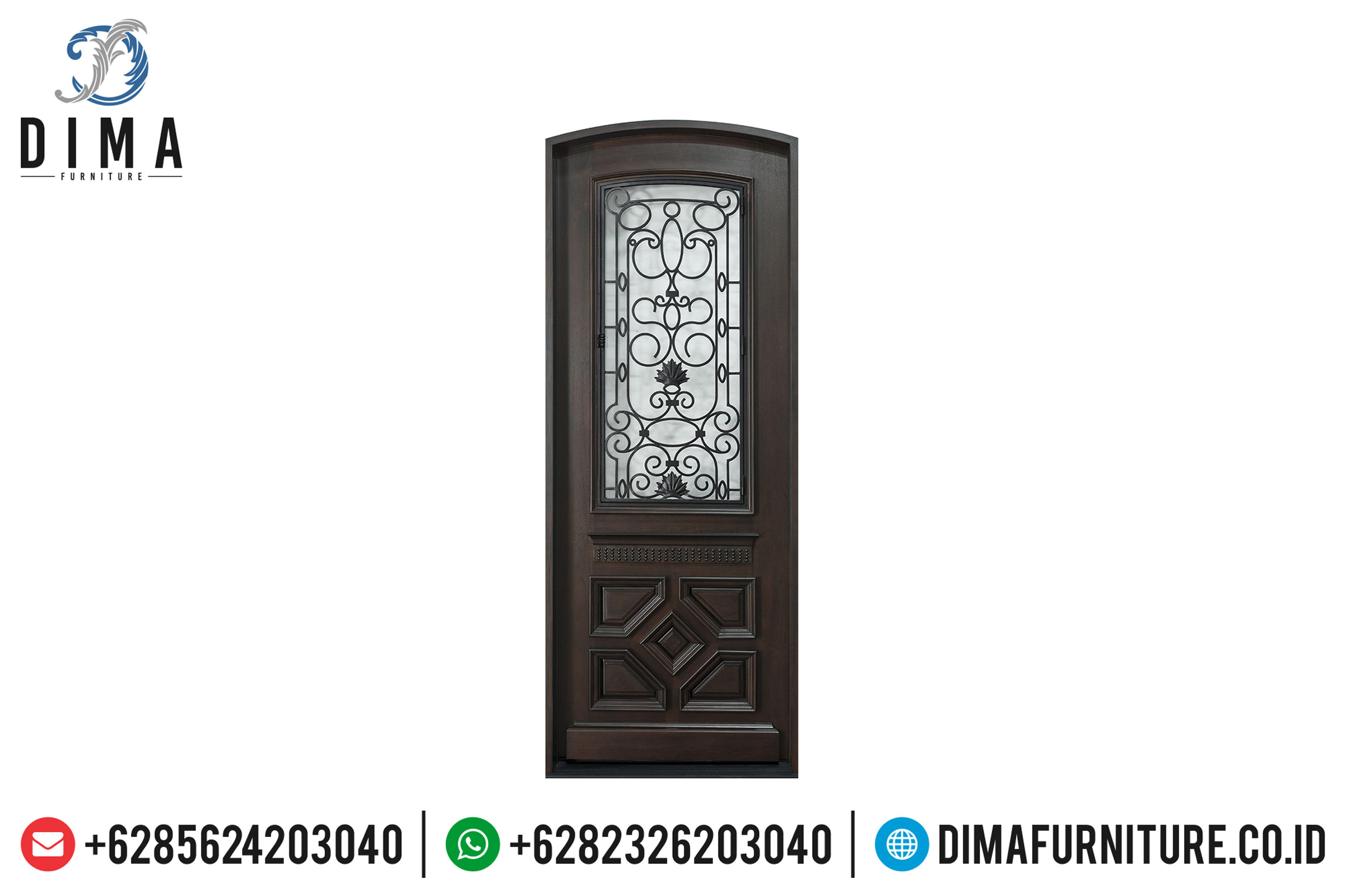 Jual Pintu Jati Jepara Natural Dark Brown Minimalis TTJ-0515