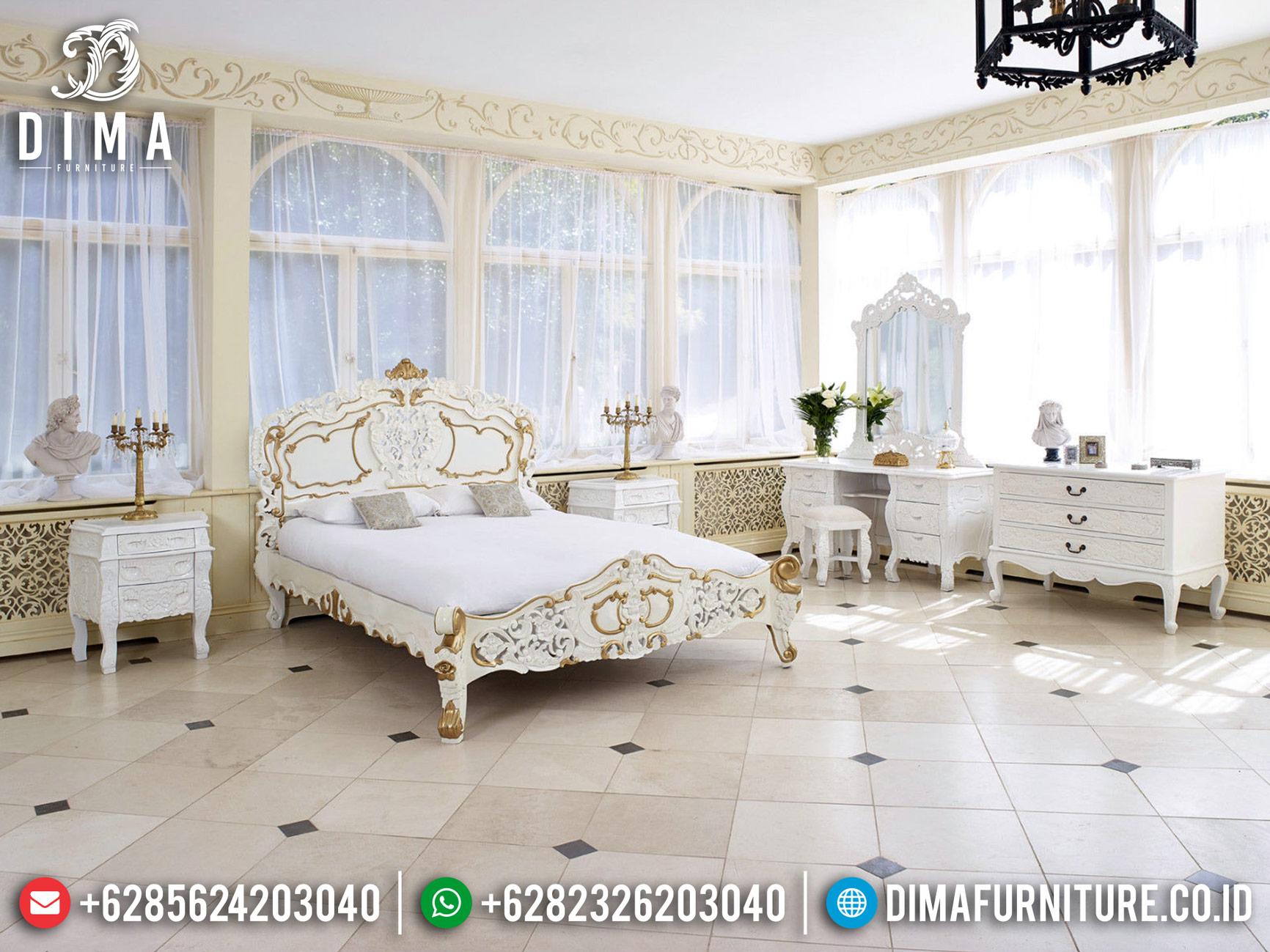 Jual Tempat Tidur Mewah Duco Putih Kombinasi Gold Furniture Jepara Terbaru TTJ-0476