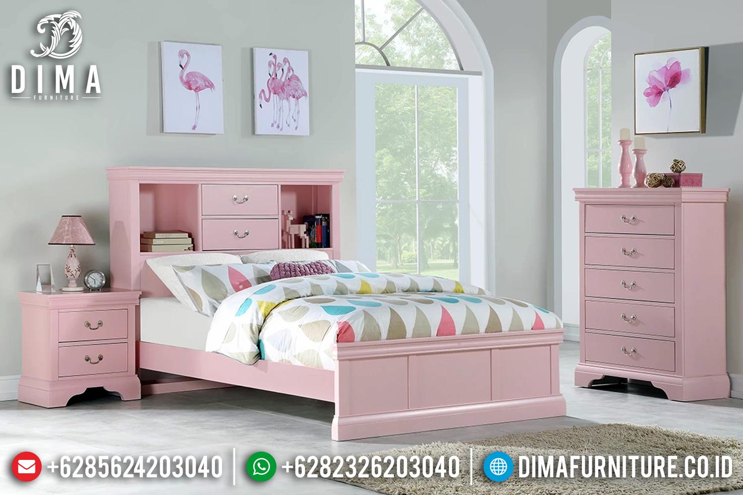 Jual Tempat Tidur Minimalis Cantik Pink Duco Furniture Jepara Terbaru TTJ-0462