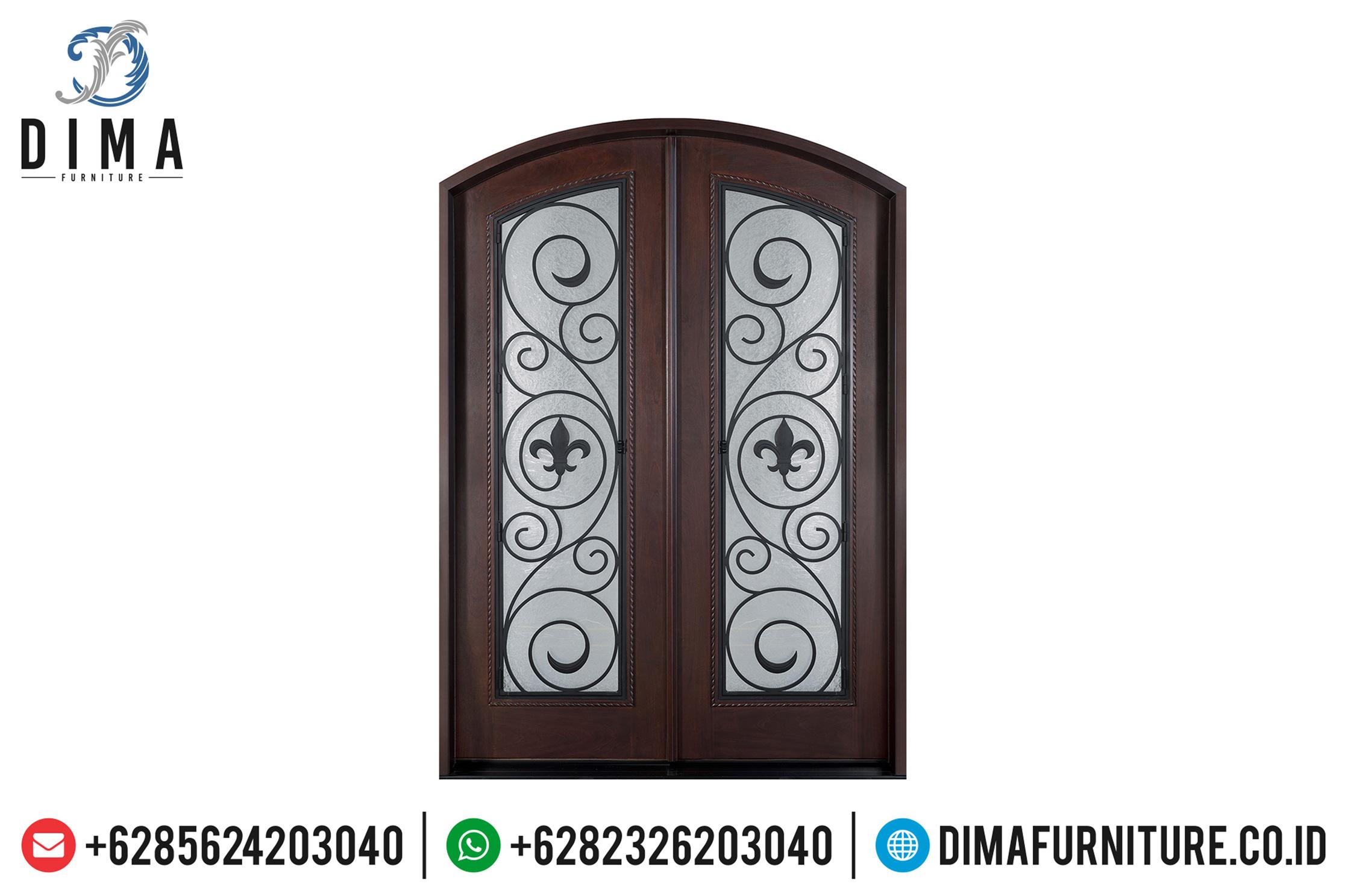Konsep Pintu Kaca Jati Rumah Mewah Cat Natural Classic Dark Brown TTJ-0510